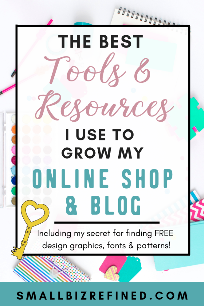I've put together a list of the best tools & resources I use to build & grow my online business (both my online shop & my blog). These are the best resources for social media & marketing for your small business. Click to see the list, plus my secret for finding free design resources (graphics, fonts, and patterns!). #smallbusiness #etsyshop #smallbiz #entrepreneur #businesstips