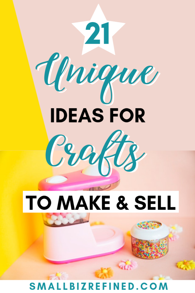 Selling products online is a great way to make money from home. If you're thinking about starting an online shop (or you're established & looking for new product ideas), I've got you covered. Click for a list of 21 creative ideas for crafts to make and sell. These unique product ideas are fun to make and can be really profitable! #craftideas #makemoneyonline #crafty #sidehustle #onlineshop