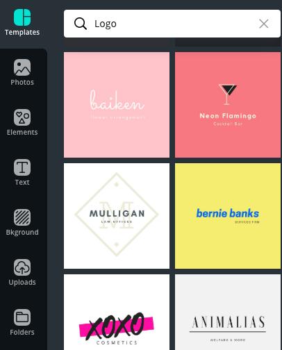 Canva Screenshot: Logo Templates