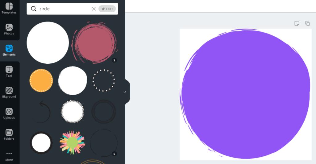 Canva Screenshot: Circle Elements
