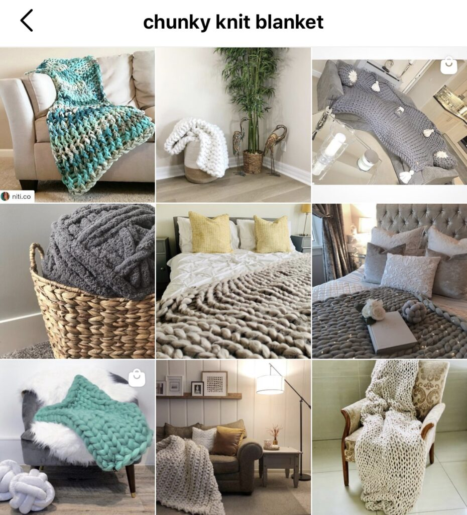 Instagram keyword search results for chunky knit blanket